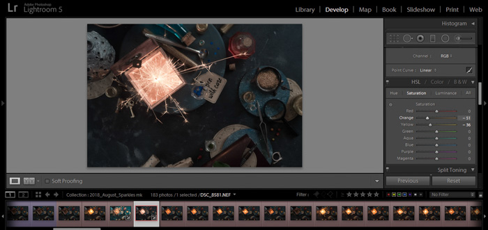A screenshot of editing sparkler photography in Lightroom