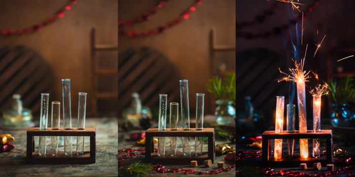 sequence of 3 shots, sparklers lit on rightmost photo, inside test tubes on a test tube rack in a dark room