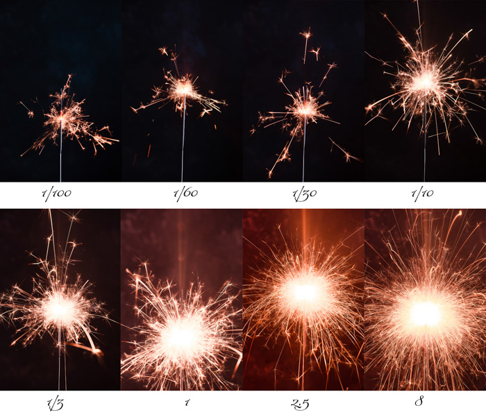 series of sparkler photography, comparison of results with different shutter speeds