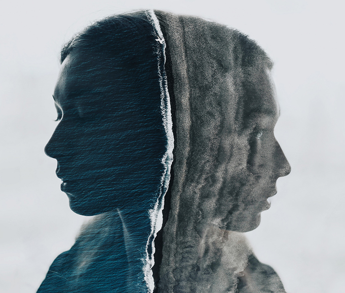 A cool portrait double exposure featuring alot of texture in photography