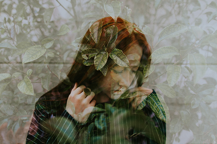A cool portrait double exposure featuring alot of texture photography