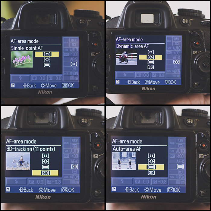 A 4 photo grid showing how to change autofocus modes on a DSLR