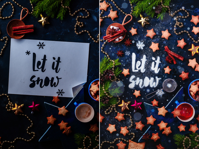 A magical Christmas still life photography diptych with festive food typography