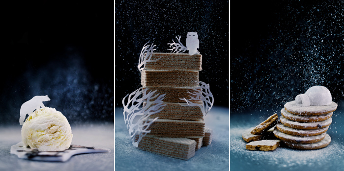 A magical Christmas still life triptych featuring food and cut outs