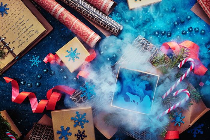 A magical Christmas photography flat lay