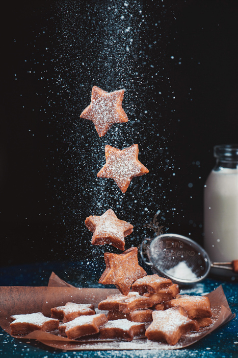 A magical Christmas still life photography shot of floating cookies