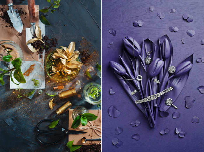 A still life photography diptych featuring complementary colors photography