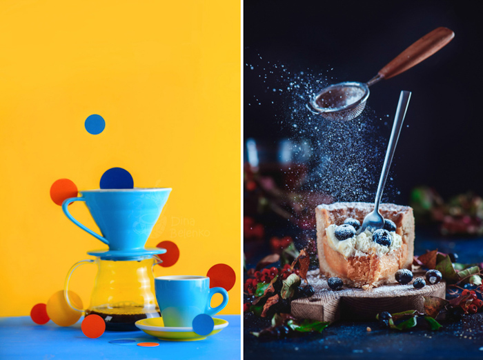 Still life photo diptych showing the difference between a highly saturated and calmer color palette, featuring basically the same hues