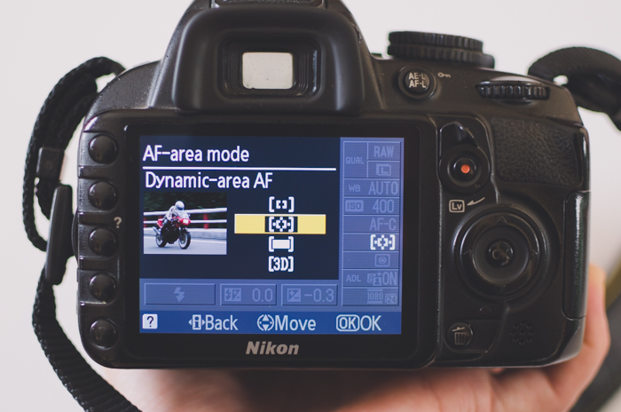 The screen of a Nikon DSLR photography camera showing AF-area mode settings - DSLR basics