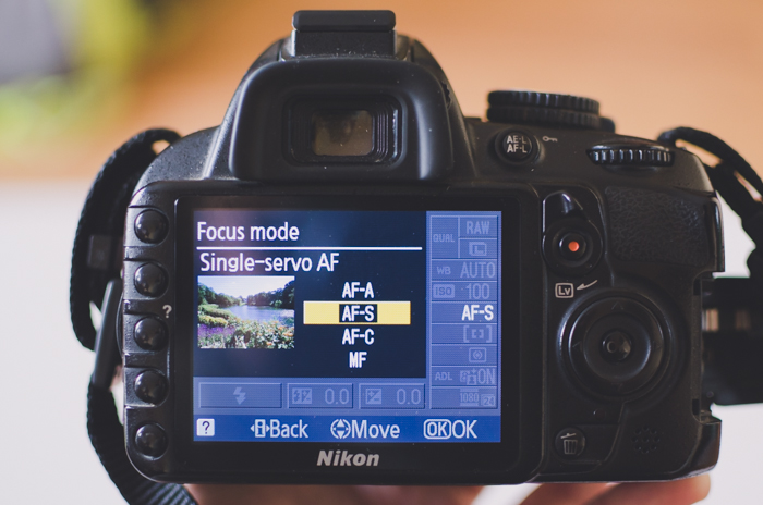 A photo of the focus mode menu on a Nikon camera- DSLR photography camera settings