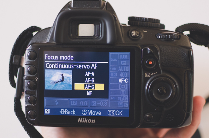 A photo of the focus mode menu on a Nikon camera- DSLR basics