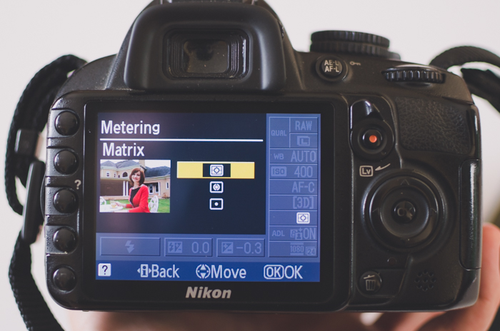 The screen of a Nikon DSLR showing metering settings