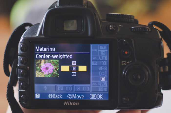 The screen of a DSLR showing metering settings - DSLR basics