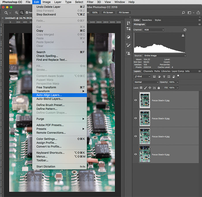 Screenshot of focus stacking on Photoshop, after Auto-Align