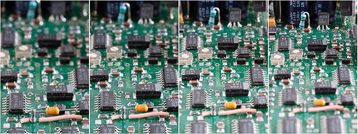 A four image macro photography sequence of a circuit board showing how the image magnification varies as the focus is adjusted.