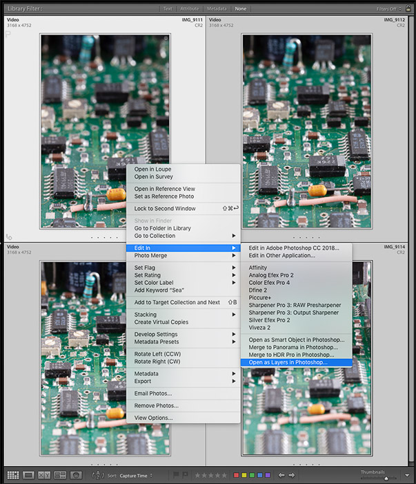 Screenshot of sending an image sequence from Lightroom to Photoshop for focus stacking.