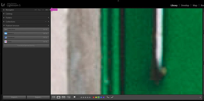 Screenshot of a photo enlarged 11 times using the zoom - how to resize image in lightroom