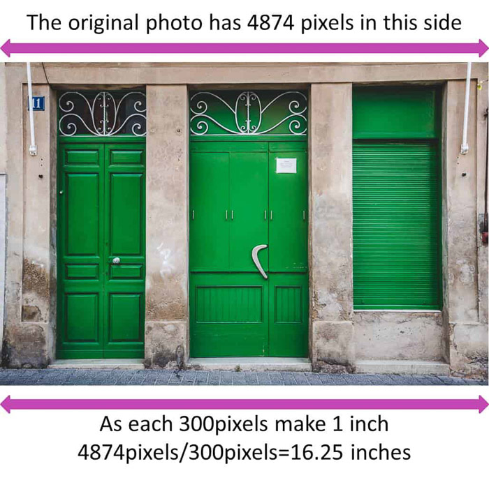 An image of three green doors, overlayed with information about the amount of pixels involved - resize image in Lightroom