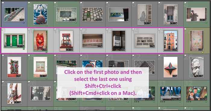 Screenshot of selecting multiple images in lightroom