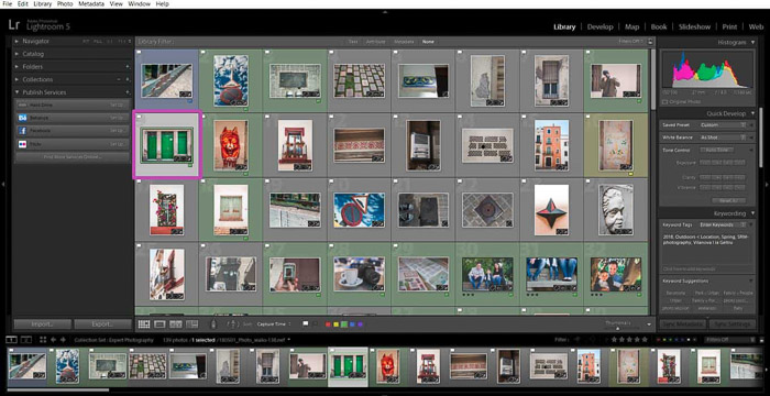 Screenshot of opening the image library in Lightroom - resize photos