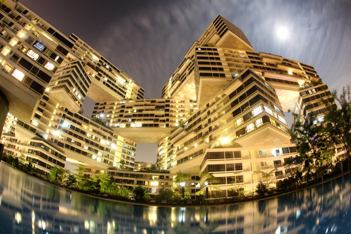 A stunning architecture photo shot using a tripod and a fisheye lens at night