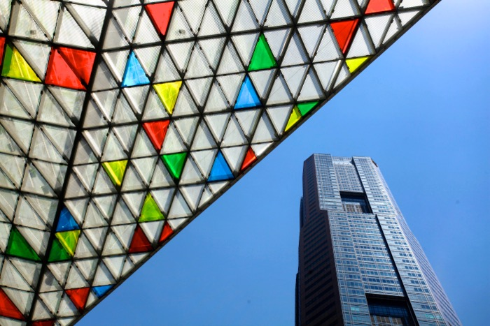 A photo of modern buildings shot using architecture photography tips