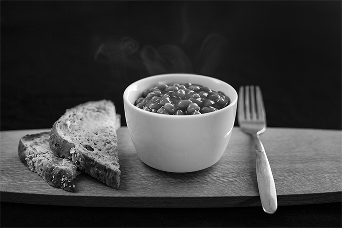 A black and white food photography shot