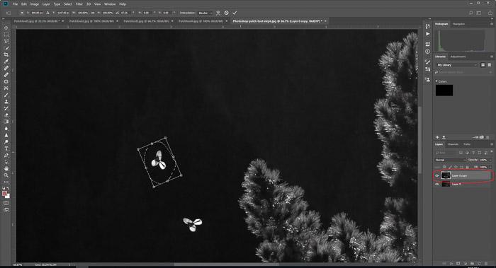 Uma captura de tela de formas em movimento usando a ferramenta de correção do Photoshop