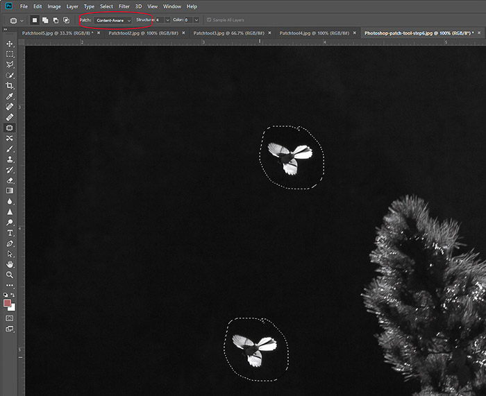 A screenshot of selecting parts of an image with Photoshop patch-tool