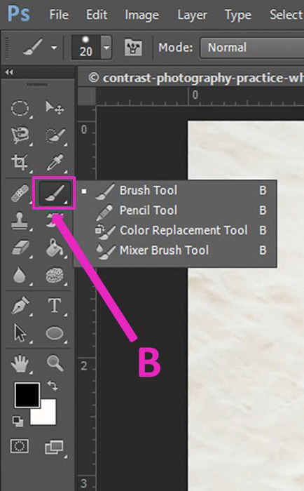 Screenshot of using the brush Tool Photoshop keyboard shortcuts