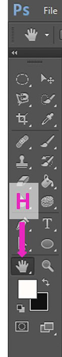 Screenshot of using the hand tool shortcut on Photoshop