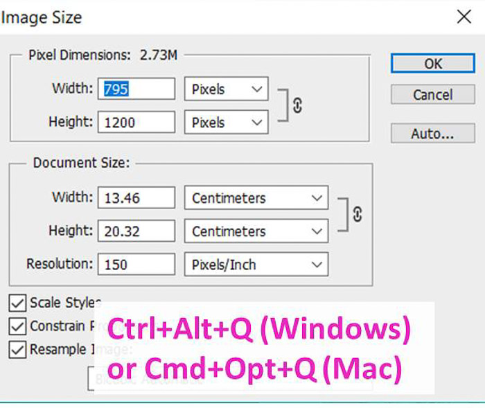 Screenshot of using the image size shortcut on Photoshop