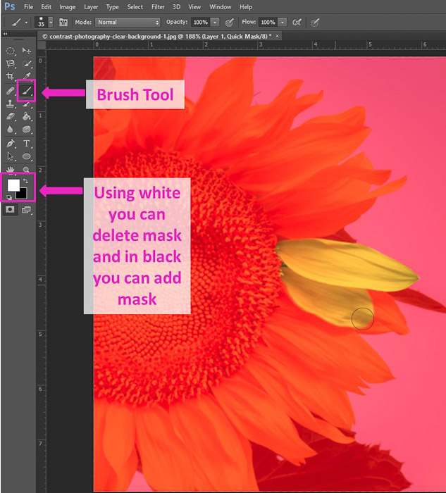 Screenshot of using the brush tool Photoshop shortcuts