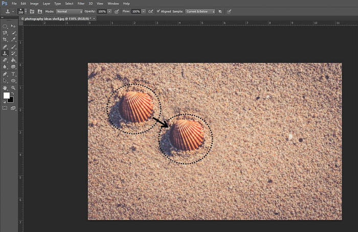 Screenshot of using the clone stamp tool shortcut on Photoshop