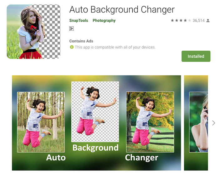 The homepage of Auto Background Changer app to add background to photo