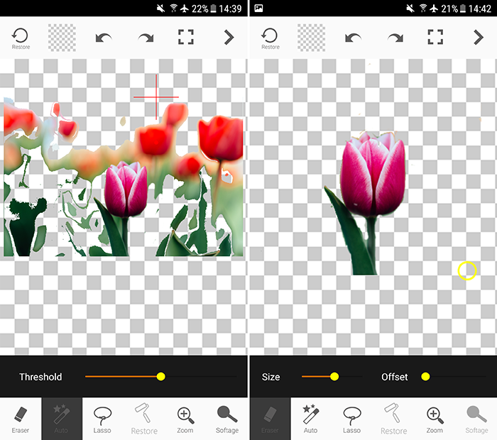 Screenshot of using Auto Background Changer app to add background to pictures