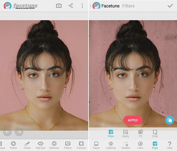Interface of using Facetune app to put backgrounds on pictures