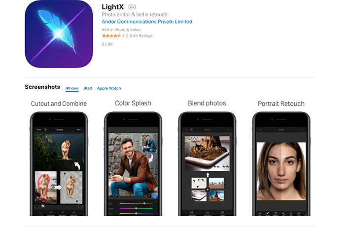 The homepage of LightX app to add background to photo