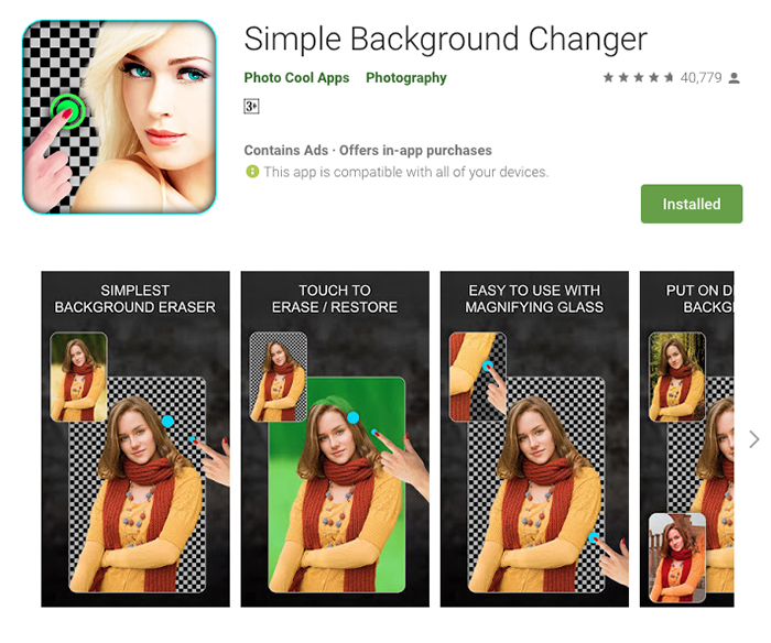 Screenshot of the Simple Background Changer app to add background to photo