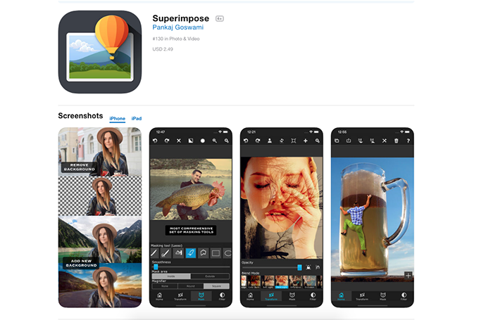 Screenshot of the Superimpose app to add background to photo