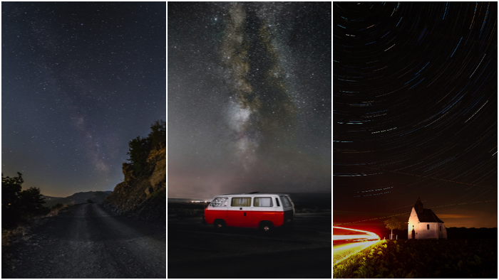 Astrophotography triptych highlighting that a strong foreground is needed to capture the viewer's interest in starry landscapes and star trails photography.