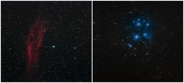 Two large targets that are nicely photographed with a 400mm lens: the California Nebula (left) and the open cluster of the Pleiades (right).