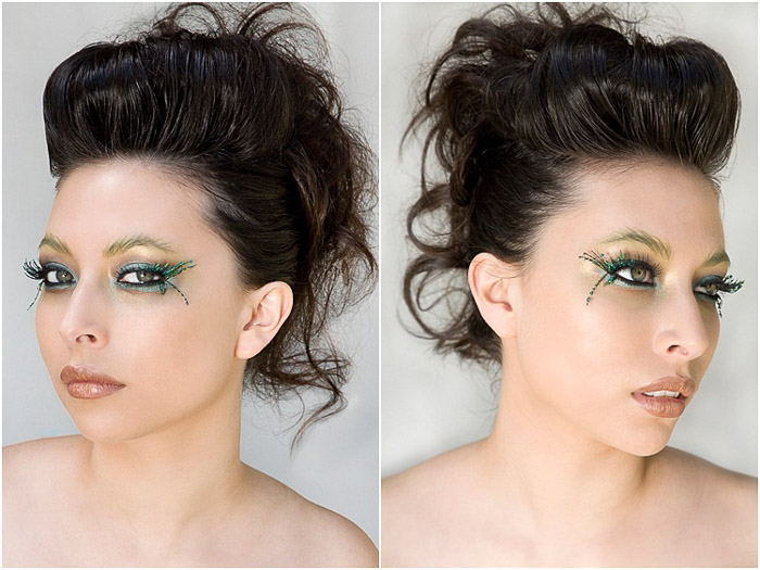A beauty photography diptych of a female model posing against a white background