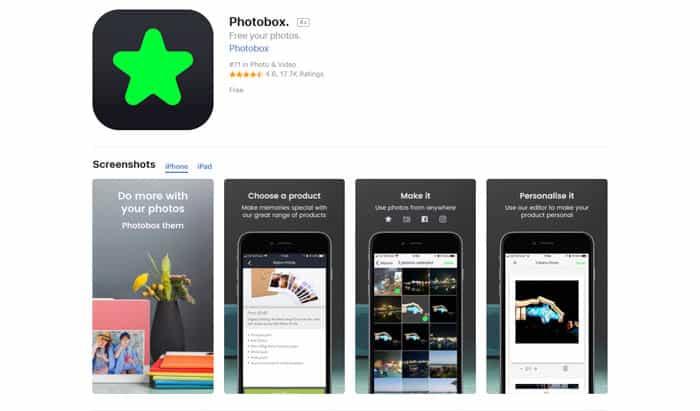 Screenshot of the PhotoBox homepage - best photo printing apps