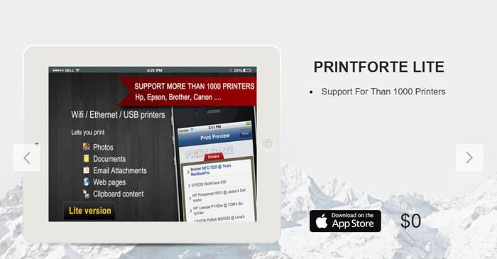 Screenshot of the PrintForte Lite homepage - best photo printing apps