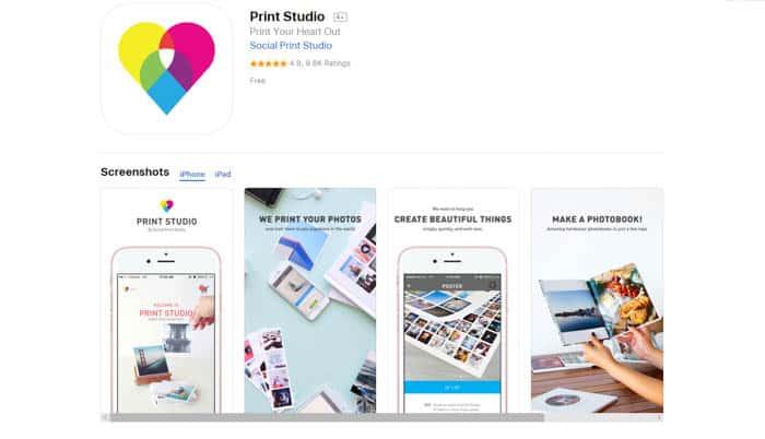 Screenshot of the Print Studio homepage - best photo printing apps