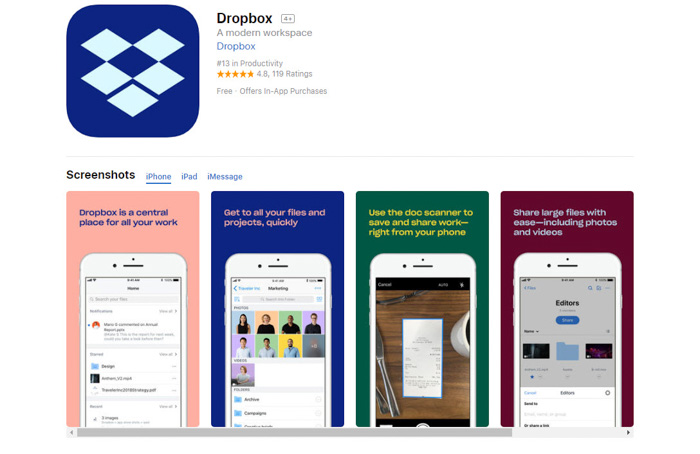 Screenshot of Dropbox photo storage app homepage