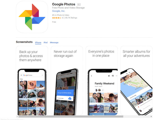 Screenshot of Google Photos best photo storage app homepage