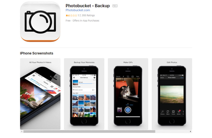 Screenshot of Photobucket homepage - best photo storage app
