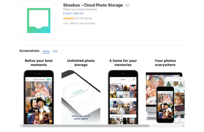 Screenshot of Shoebox cloud photo storage app homepage